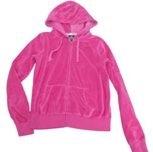 Pink by VS Velour Hot Pink Cozy Zippered Jacket